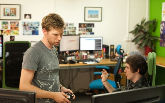 Grant and Jake at Hello Games, getting SERIOUS. This doesn't happen very often.